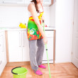Stock Photo: Womdoing housework