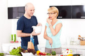 Couple in the kitchen — Stock Photo