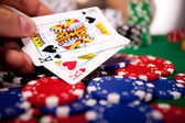 Gambling set, chips, cards — Stock Photo