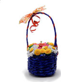 Hand made basket with flowers — Stock Photo