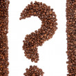 Coffee Bean Question Mark. Coffee beans arranged to form a question mark isolated on white. — Stock Photo