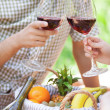 Couple enjoying wine on a picnic together — Stock Photo