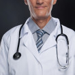 Doctor. Close-up of doctors lab coat with stethoscope. — Stock Photo