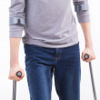 Crutches in both hand — Stock Photo