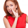 Red hair woman telling gossips  — Stock Photo