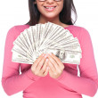 Young woman holding money in her hands — Stock Photo