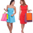 Friends shopping. Full length of two beautiful young women holding shopping bags and smiling — Stock Photo