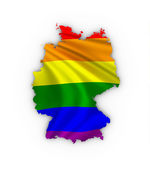 Germany map showing a rainbow flag — Stock Photo