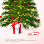 Beautiful christmas tree with red gift isolated on white background. Merry Christmas! For your design and business — Stock Vector