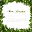 Branch of Christmas tree on white background. Vector illustration. — Stok Vektör