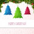 Realistic christmas wreath with fir. Three trees banner christmas tree. Christmas fir tree. Vector illustration for your business — Stok Vektör