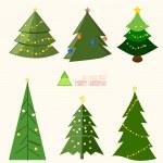 Set of Modern Christmas Tree Background — Stock Vector