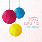Banner triangle background with bright Christmas balls. Vector illustration. — Cтоковый вектор