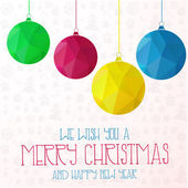 Banner triangle background with bright Christmas balls. Vector illustration. — Stock Vector