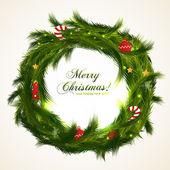 Realistic christmas wreath with fir. Vector background. Merry Christmas! — Stock Vector