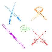 Favorite ninja weapons. Vector illustration for your design. Blue, orange, purple, red. SET. — Stock Vector