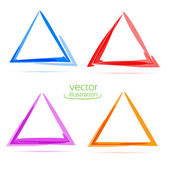 Four triangles for your business. Merry christmas! Triangles set — Stock Vector