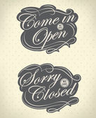 Open and Closed Vintage retro signs — Stock Vector