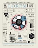 Retro infographic, typography set — Stock Vector