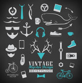 Set of hipster vintage retro chalk label and icon — Stock Vector