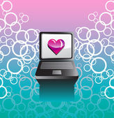 Vector background with a laptop and a heart — Stock Vector