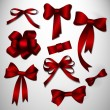 Vector bow collection. Red — Stock Vector