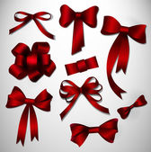 Vector bow collection. Red — Stok Vektör