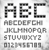 Vector silver pixel font with stud — Stock Vector