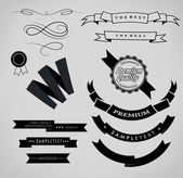 Set ribbons and label — Stock Vector