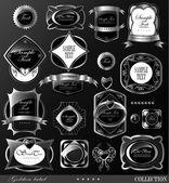 Black gold labels — Stockvector