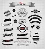 Set of retro ribbons and labels. — Stock Vector