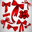 Vector bow collection. Red — Imagen vectorial