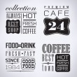 Set of coffee, cafe label, set of typographic elements — Stock Vector