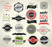 Premium Quality, Guarantee and sale Labels — Stock Vector