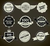 Set of retro vintage labels. Vector illustration. — Stock Vector
