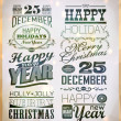 Christmas and Happy New Year typography — Stock Vector #35566645