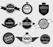 Set of Premium Quality and Guarantee Labels — Stock Vector