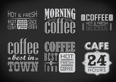 Set of coffee labels on chalkboard — Stock Vector