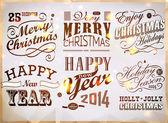Christmas and Happy New Year typography — Stockvektor