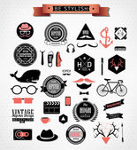 Hipster style elements, icons and labels — Stock Vector