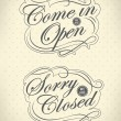 Image of various open and closed business signs isolated on a white background. — Stok Vektör