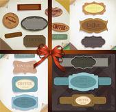 Ensemble de rubans rétro vectorielles, des textures de papier sale vieux et étiquettes vintage, bannières et emblèmes. collection d'éléments de conception. — Vecteur
