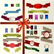 Set of vector retro ribbons, old dirty paper textures and vintage labels, banners and emblems. Elements collection for design. — Stock Vector