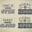 Retro signs Open and Closed. Vector illustration. — Stok Vektör