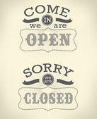 Różne znaki otwarte i zamknięte na białym tle na białym tle obraz. — Wektor stockowy