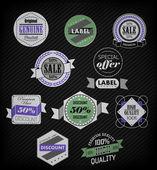 Lot d'étiquettes rétro vintage — Vecteur