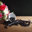Coffee beans and cup of coffee background — Stock Photo
