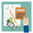 Calculator and some office supplies. Vector. — Stock Vector #38233871
