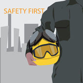 Businessmen architects or engineers with protective yellow helmet — Vector de stock