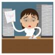 Very busy business woman working hard on her desk in office with a lot of paper work — Stock Vector